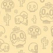 Sugar Skulls Sand Seamless Vector Art Print