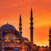 Suleymaniye Mosque At Sunset Art Print