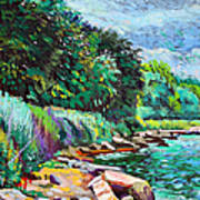 Summer Shore Of Hudson River, New York Art Print