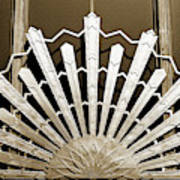 Sunburst Art Deco Sepia Art Print