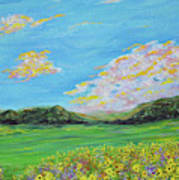 sunflower valley- Sunflower Art-Impressionism painting Art Print