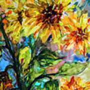 Sunflowers Summer Flowers Mixed Media Art Print
