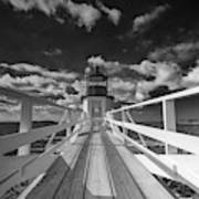 Sunny Skies At Marshall Point In Black And White Art Print