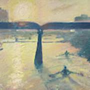Sunrise Rowers On Lady Bird Lake Austin Art Print