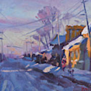 Sunset In A Snowy Street Art Print