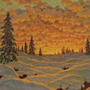 Sunset In Finland  Art Print