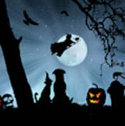 Super Cute Halloween Night With Dog And Cat Art Print