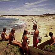 Surfers & Girls In Bikinis, Soldiers Art Print