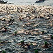 Swim Start Of Triathlon In Kailua Bay Art Print