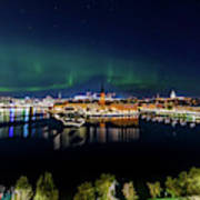 Swirly Aurora Over Stockholm And Gamla Stan Art Print
