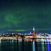 Swirly Aurora Over The Stockholm City Hall And Kungsholmen Art Print