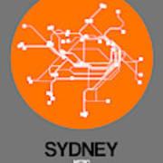 Sydney Orange Subway Map Art Print