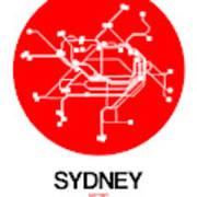 Sydney Red Subway Map Art Print