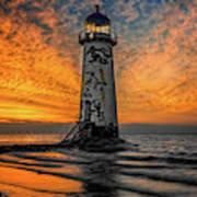 Talacre Beach Lighthouse Sunset Art Print
