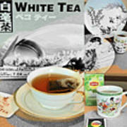 Tea Collage With Brush  Art Print