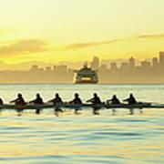 Team Rowing Boat In Bay Art Print