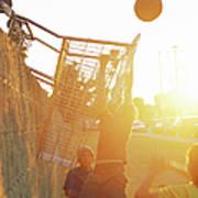 Teenage Boys 13-15 Playing Basketball Art Print