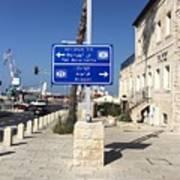 Tel-aviv Jaffa Road Sign Art Print