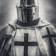 Teutonic Knight Black And White Art Print