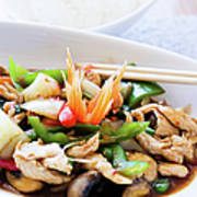 Thai Basil Chicken Dish And Bowl Of Art Print