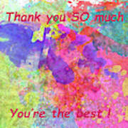 Thank You So Much Hibiscus Abstract Art Print