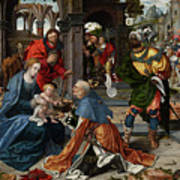 The Adoration Of The Magi With Donor  Art Print