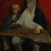 The Gusli Player. Artist Ryabushkin Art Print