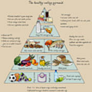 The Healthy Eating Pyramid. Colorful Art Print