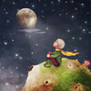 The Little Prince With A Rose On A Art Print