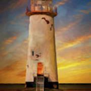 The Point Of Ayr Lighthouse Sunset Art Print
