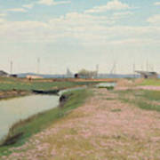 The River And The Harbour At Frederiksvaerk Art Print