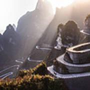 The Winding Road Of Tianmen Mountain Art Print
