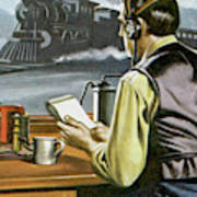 Thomas Edison, The Railway Telegraphist  Art Print