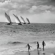 Three Boys Running Along Beach Art Print