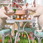 Three Little Pigs And The Birthday Cake Art Print