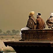 Three Sadhus Meditating By The Yamuna Art Print