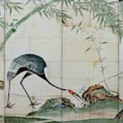 Top Quality Art - Cranes Pines And Bamboo Art Print