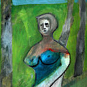 Topless Woman In A Park Art Print