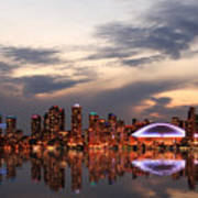 Toronto Skyline At Sunset, Ontario Art Print