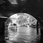 Tourboat On Amsterdam Canal Art Print