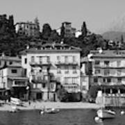 Town In The Shore Of Lake Como In Black And White Art Print