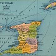 Trinidad & Tobago Map Art Print