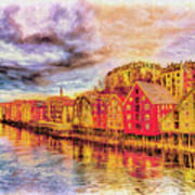 Trondheim - Waterfront Evening Art Print