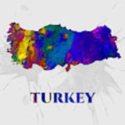 Turkey, Map, Artist Singh Art Print