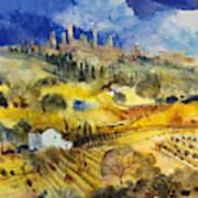 Tuscan Landscape - San Gimignano Art Print