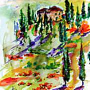 Tuscan Sunset Italian Hillside Landscape Art Print