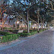 Twilight Panorama Of Charleston Waterfront Park Promenade And Shady Canopy Of Oaks - South Carolina Art Print
