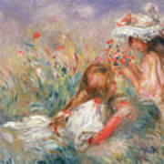 Two Children Seated Among Flowers, 1900 Art Print