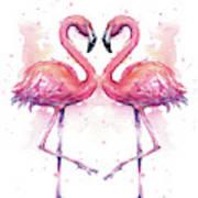 Two Flamingos In Love Watercolor Art Print