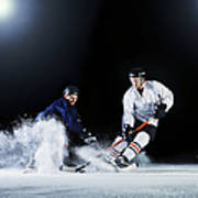 Two Ice Hockey Players Challenging For Art Print